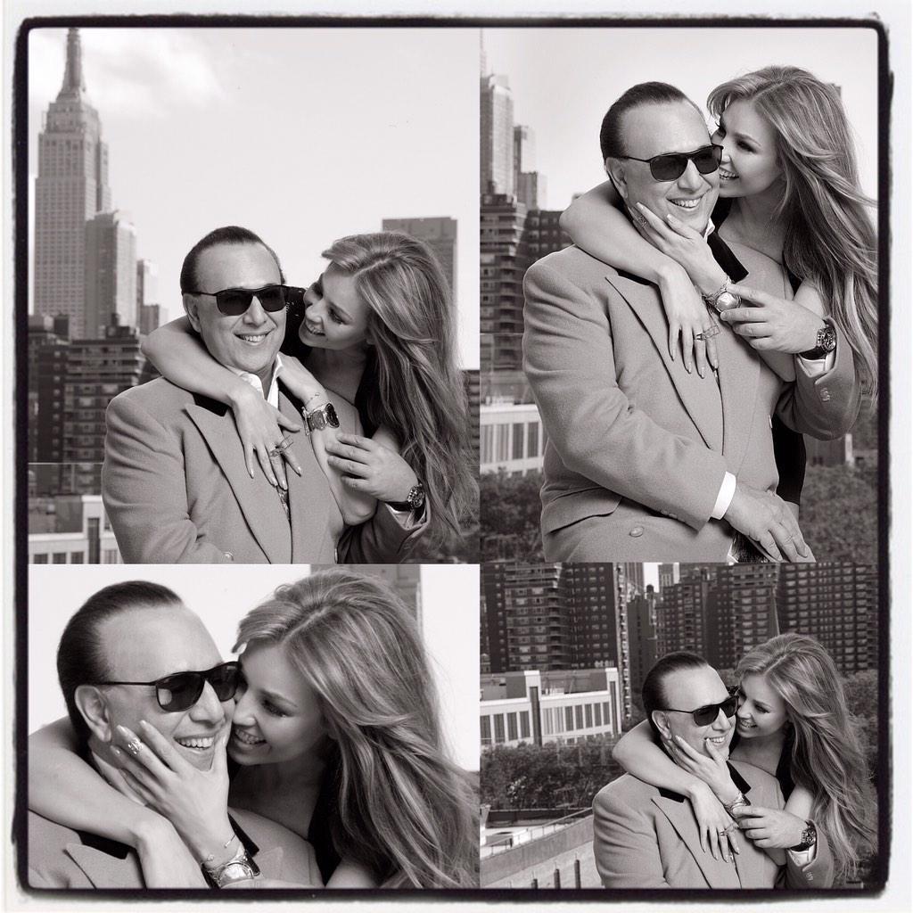 Thalía y Tommy Mottola en backstage para Quién desde Nueva York