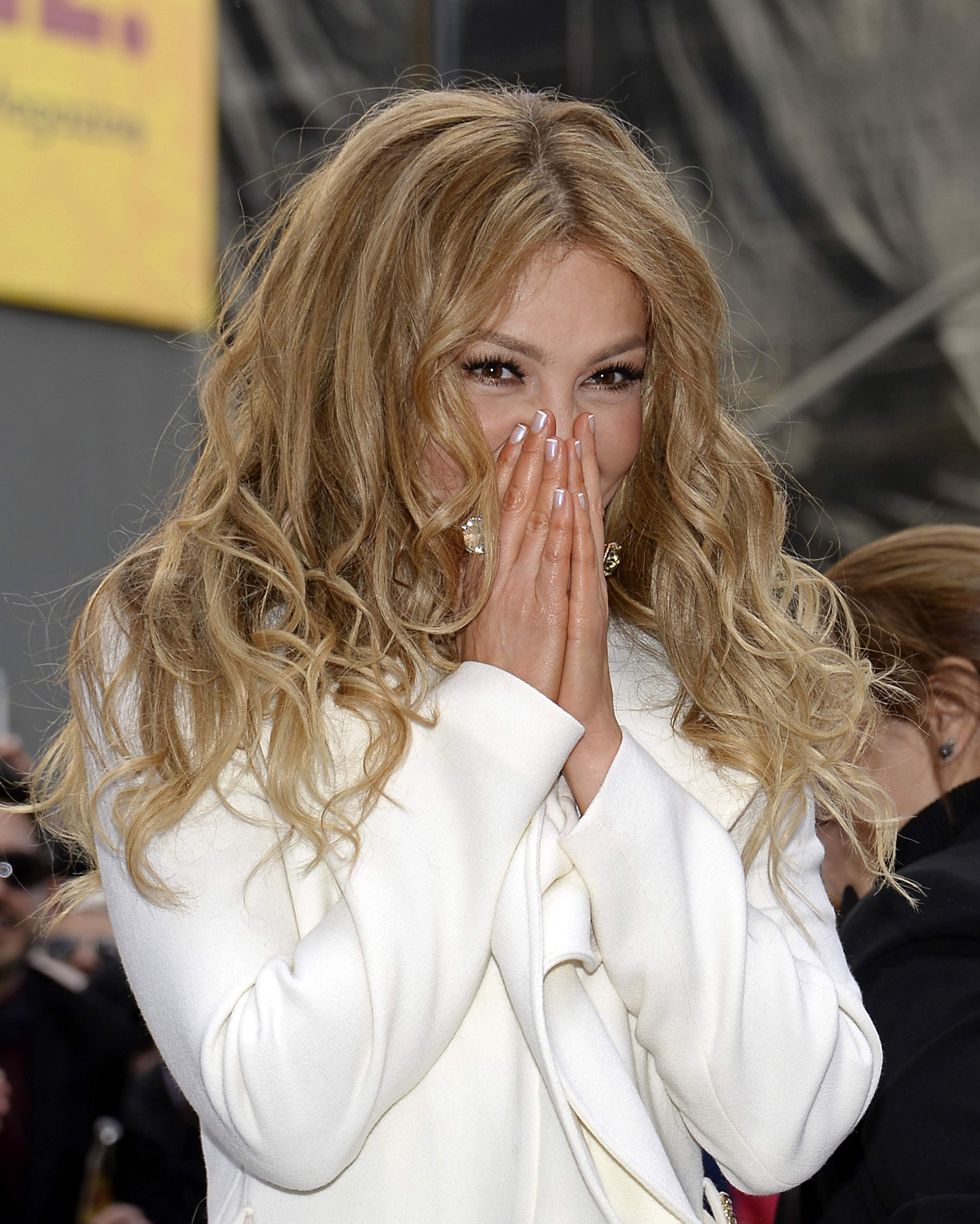 Mexican singer-songwriter Thalia reacts during the ceremony to unveil her star on the Hollywood Walk of Fame